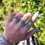 Anel Gypsy 'Pedra Azul' – Folheado