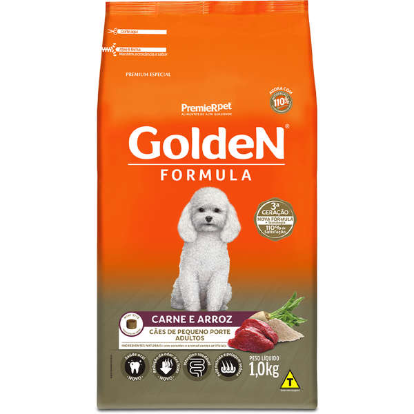 Ração Seca PremieR Pet Golden Formula Carne e Arroz para Cães Adultos de Pequeno Porte