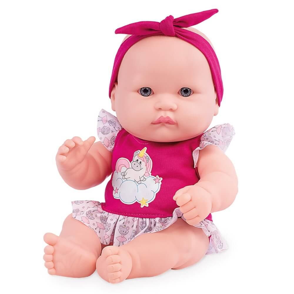 Boneca Neneca Branca Roupa Pink 394