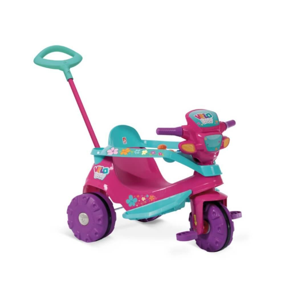 Triciclo Velobaby Passeio E Pedal Gatinha Rosa 207