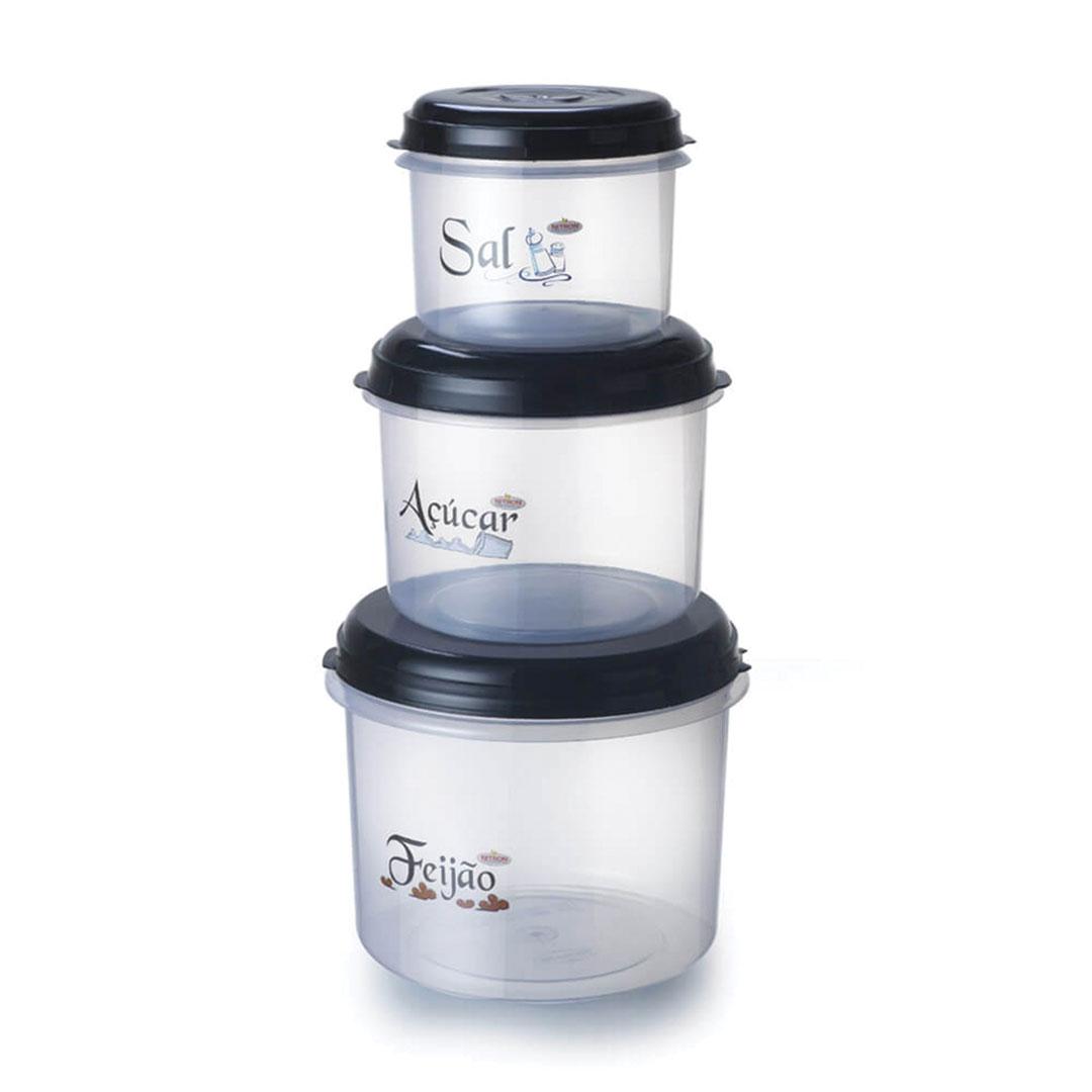 Conjunto de potes 3 peças (P 785 ml, M 1,6 l e G 2,9 l)