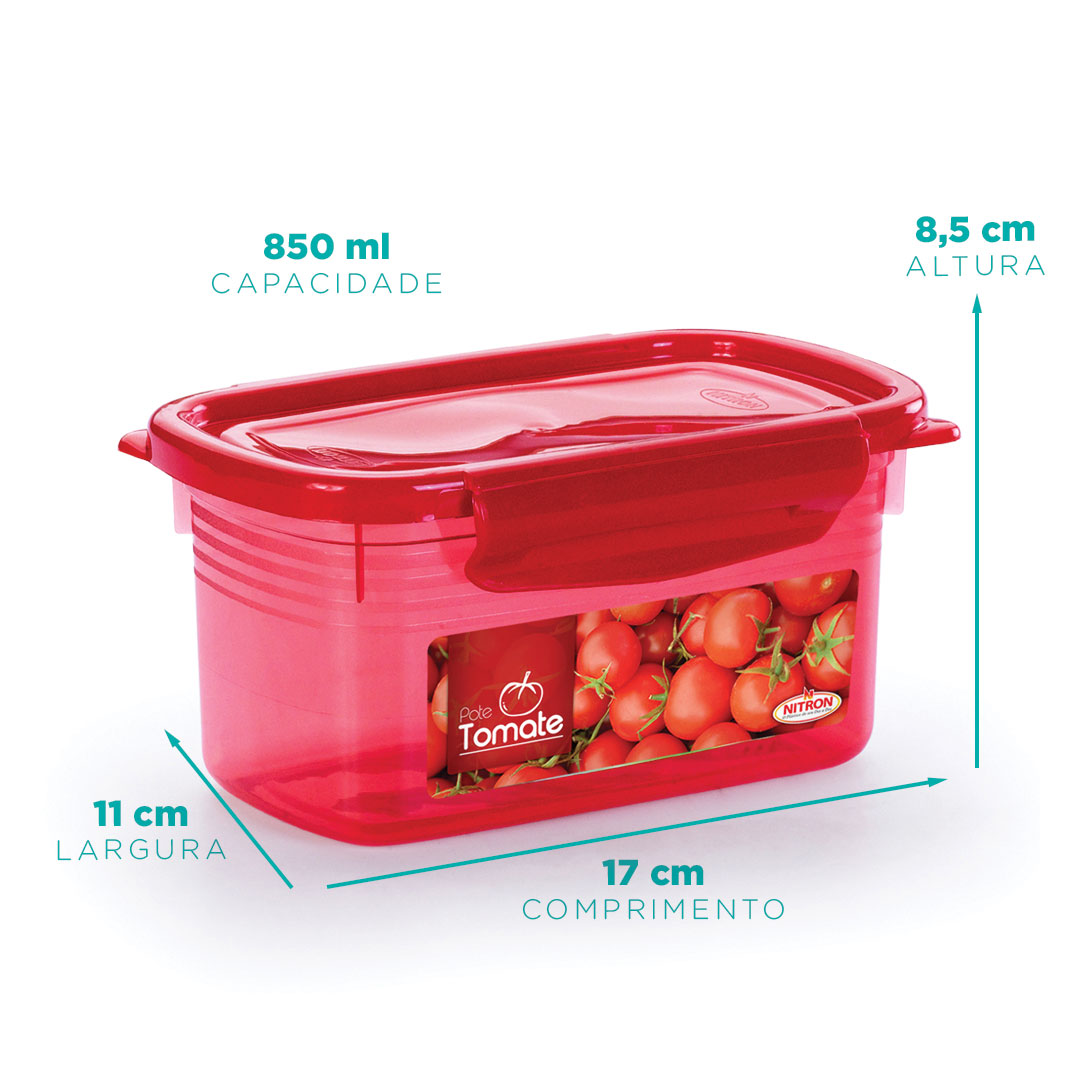 Pote tomatinho retangular com travas 850 ml