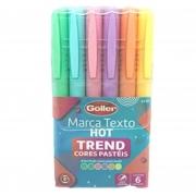 Kit 6 Marca Texto Tons Pasteis Trend Goller Ponta Chanfrada