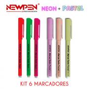 Kit com 6 Marcadores de Texto - 3 marcadores neon + 3 marcadores Tons Pastéis New Pen