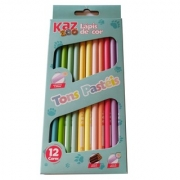 Lápis de cor 12 unidades Tons Pastéis Kaz Zoo Grafite3,0 Madeira Redondo