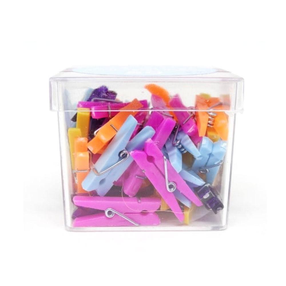 Box Mini Prendedor para Papel e Artesanato - Kit 50 Unidades Coloridos Sortidos