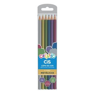 Lápis de Cor 6 cores Cis Criatic Triangular Mina Super Macia 3mm