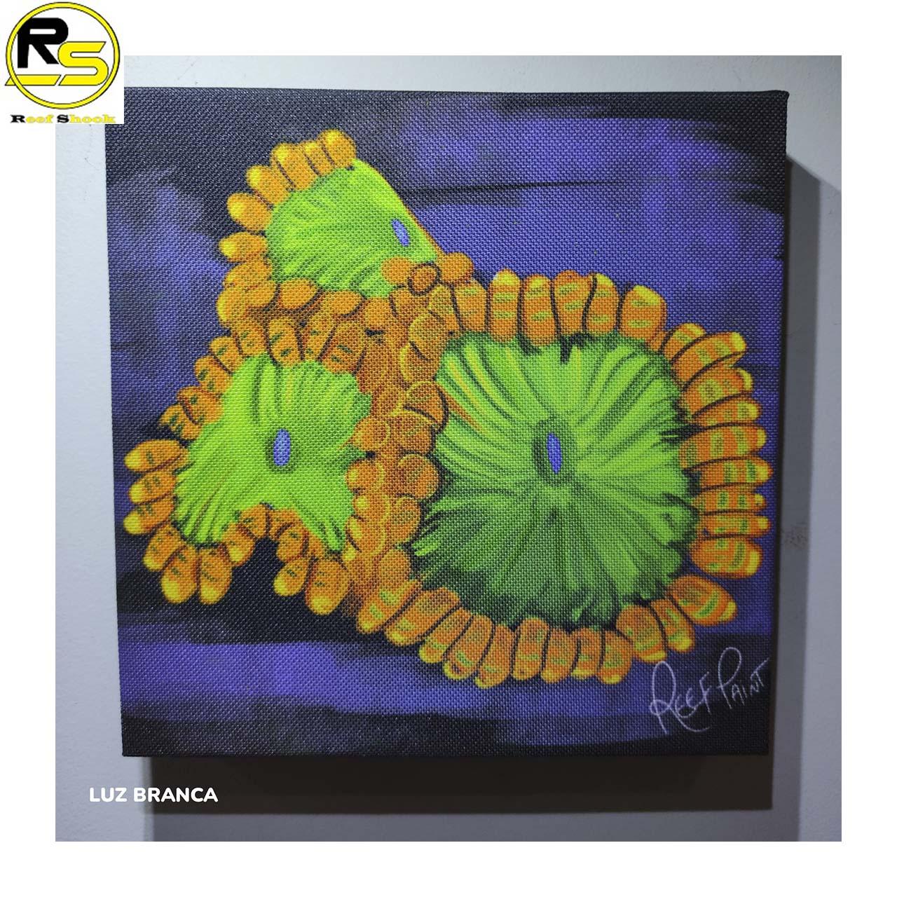 Quadro ReefPaint com tinta Neon 1107 Zoanthus Oompa Loompa