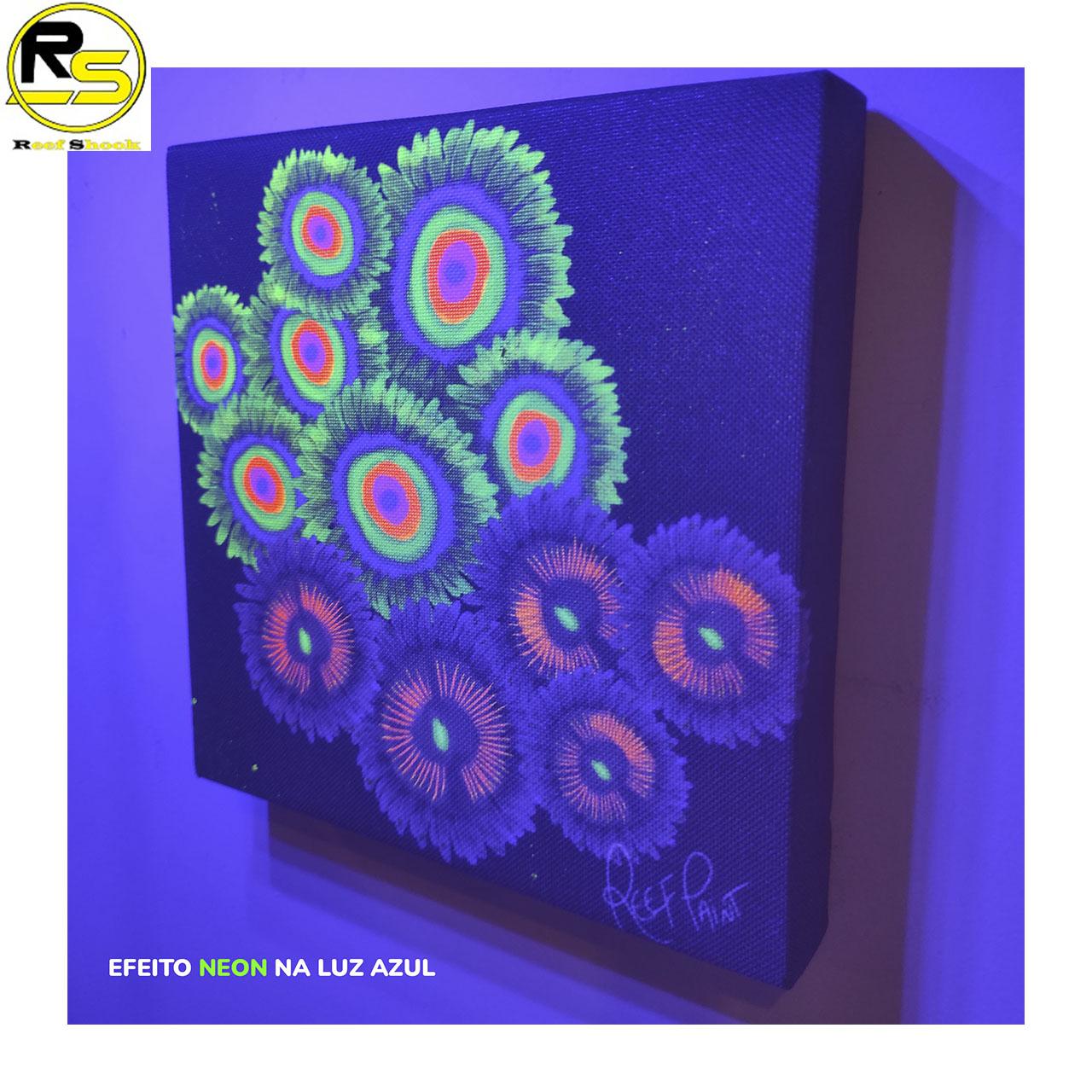 Quadro ReefPaint com tinta Neon 1110 Zoanthus Realista