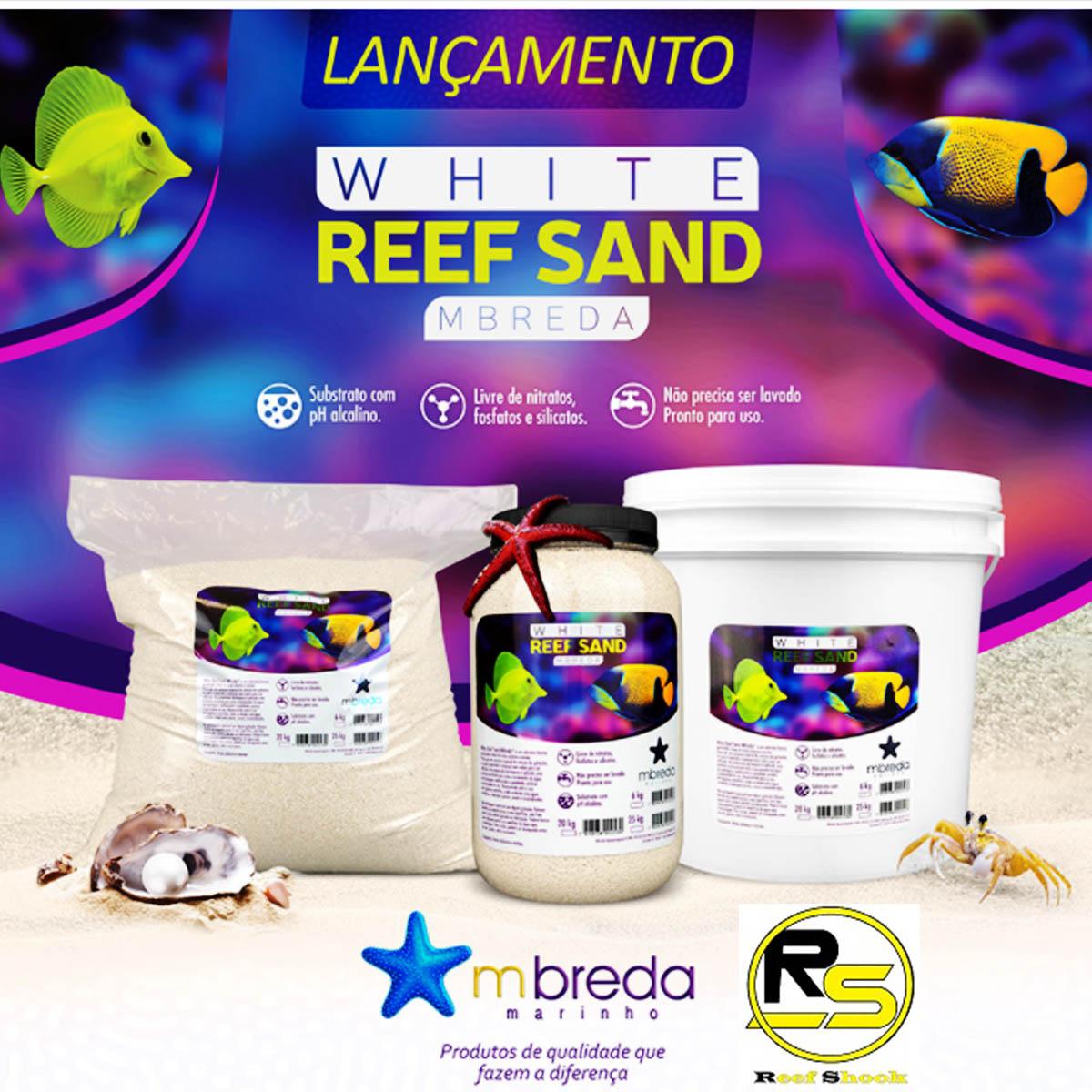 Substrato Mbreda Areia White Reef Sand Marinho Pote 6 kilos