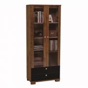 Estante para livros com portas de vidro C604 Dalla Costa - Nobre com Preto Fosco