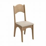 Cadeira CA18 Dalla Costa - Carvalho com tecido Geométrico (Par)