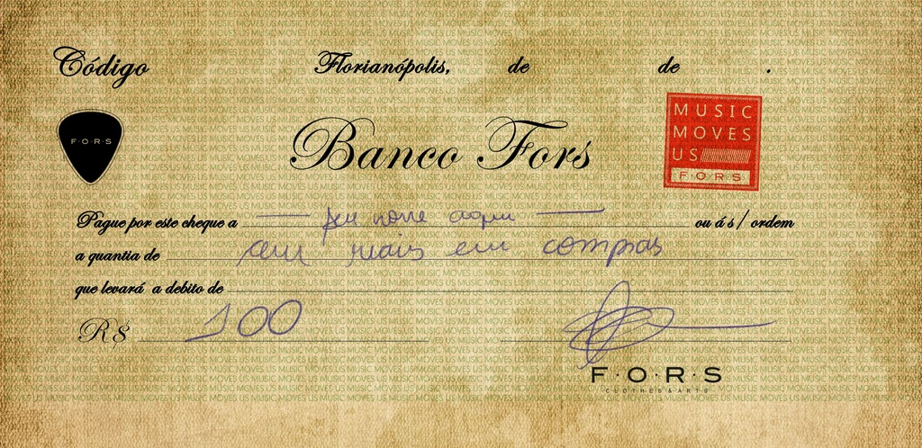 CHEQUE BANCO FORS R$ 100,00