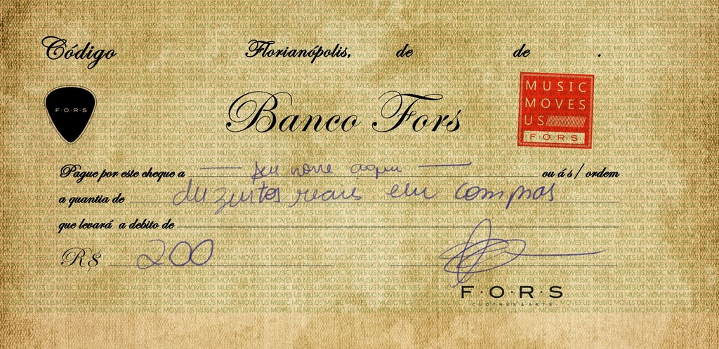 CHEQUE BANCO FORS R$ 200,00