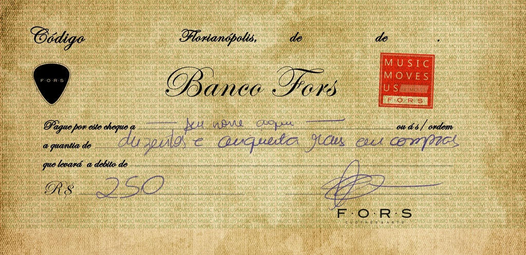 CHEQUE BANCO FORS R$ 250,00