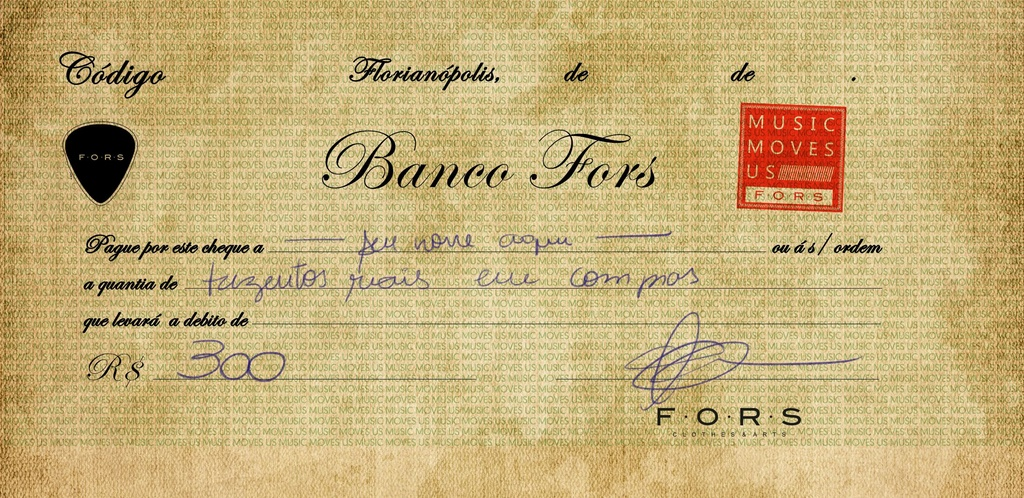 CHEQUE BANCO FORS R$ 300,00