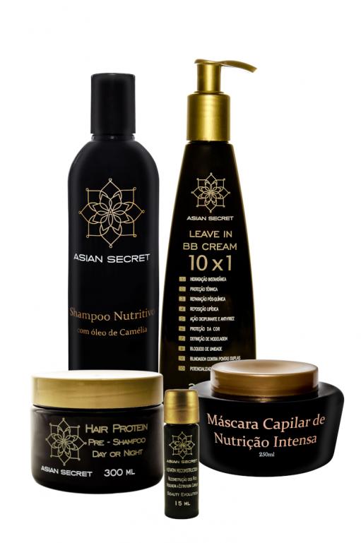 Kit Cronograma Capilar: Hair Protein + Shampoo + Leave In + Mascára + Keratina
