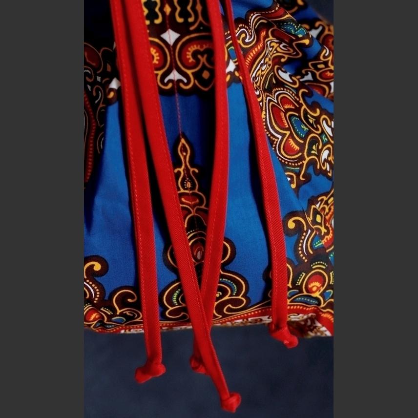 Bolsa Boho Transversal Tecido Africano Azul