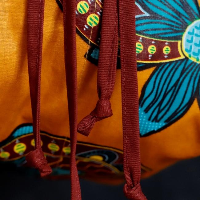 Bolsa Boho Transversal Tecido Africano Mostarda