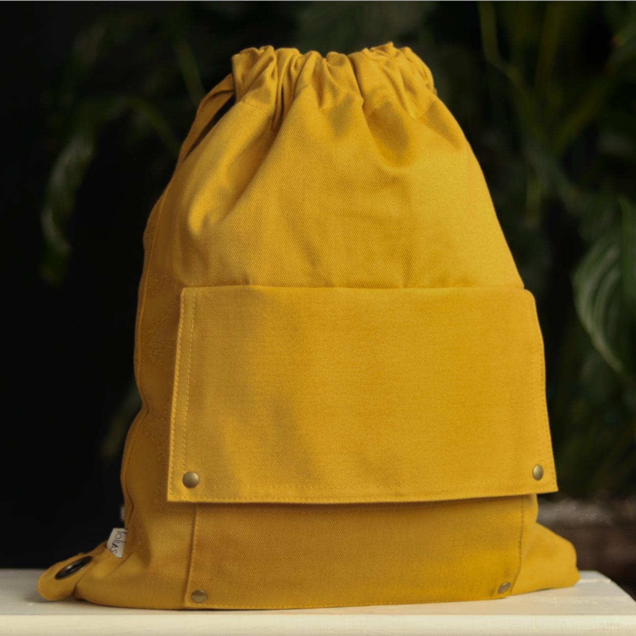 Mochila de Tiras em Sarja Amarelo Mostarda