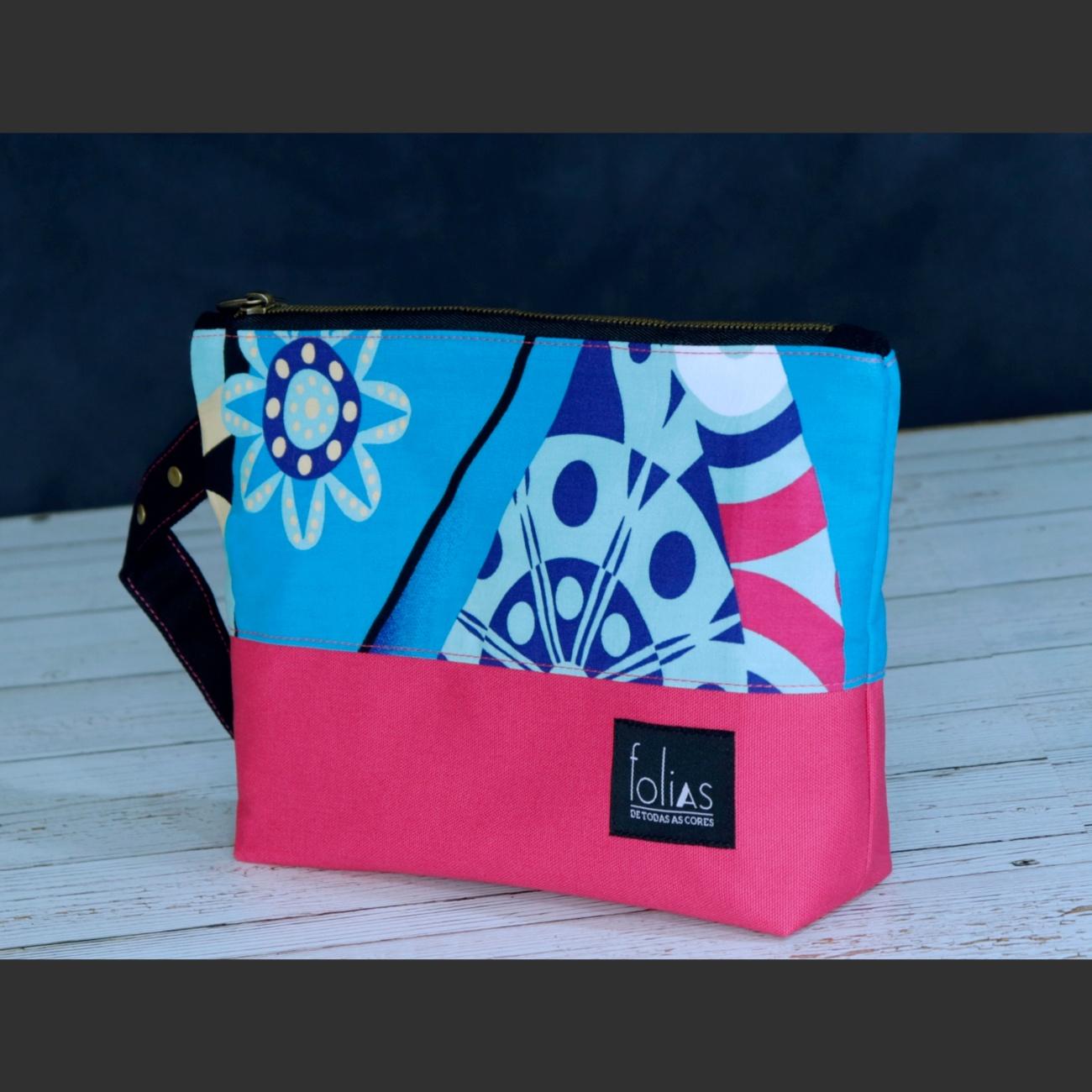 Nécessaire Grande Lona Pink e Azul