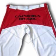 Calça de Capoeira Branca e Vermelha  - Brasilwear