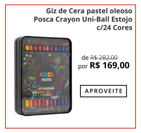 Giz de Cera pastel oleoso Posca Crayon Uni-Ball Estojo c/24 Cores
