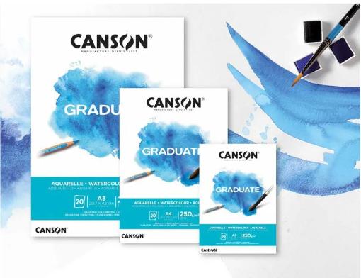 Bloco Aquarela A3 Canson Graduate - 250 g/m²
