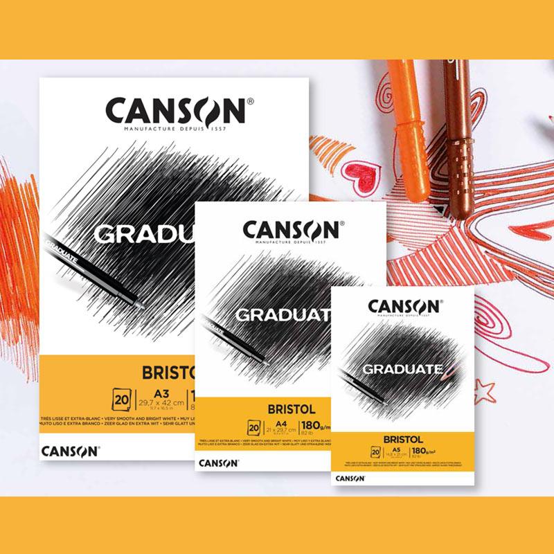 Bloco Bristol A4  Canson Graduate - 180 g/m²