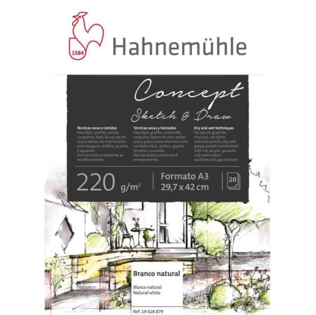 Bloco Hahnemühle Concept Sketh & Draw 220g A3 - 20 Fls