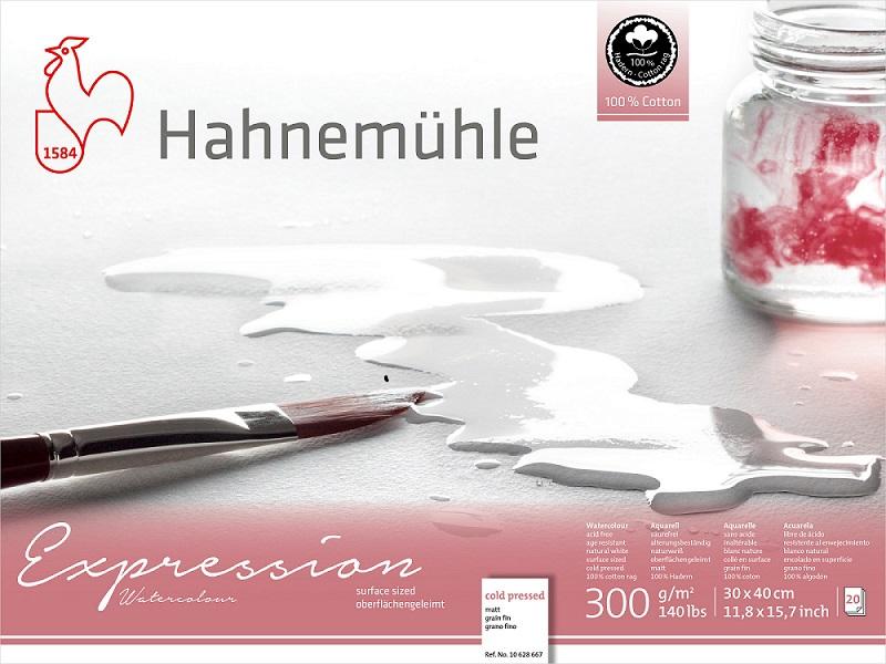 Bloco Hahnemühle Expression Watercolour 300g - 20Fls - Cold Pressed  -  30x 40cm