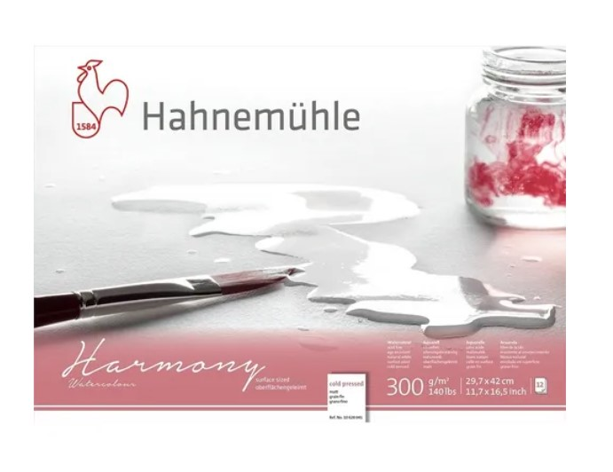 Bloco Aquarela Hahnemühle Harmony Watercolour 300g - 12Fls   cold pressed  - 29,7x 42cm