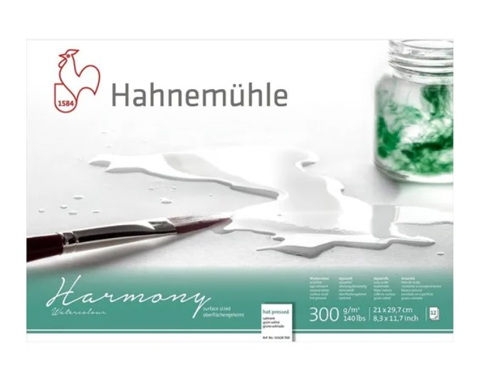 Bloco Hahnemühle Harmony Watercolour 300g - 12Fls Hot pressed  21x 29,7cm