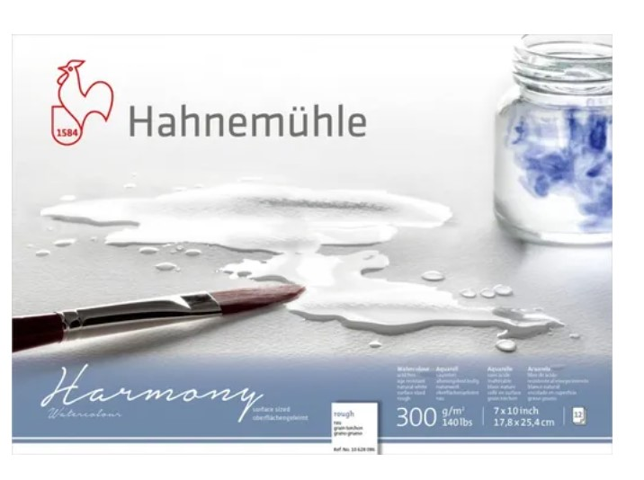 Bloco Hahnemühle Harmony Watercolour 300g - 12Fls  - Rough  - 17,8x 25,4cm