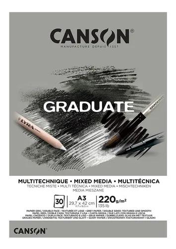 Bloco Multitécnica cinzento A3 Canson Graduate - 220 g/m²