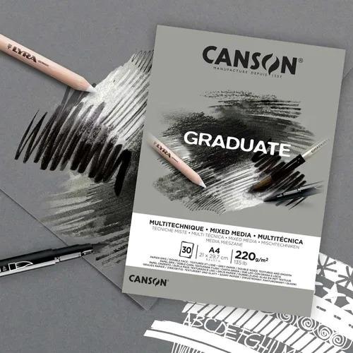 Bloco Multitécnica cinzento A4 Canson Graduate - 220 g/m²