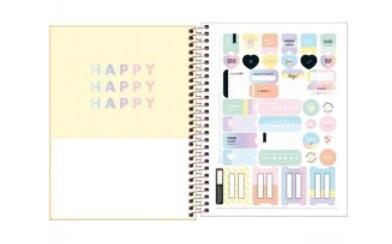 Caderno Colegial capa plástica - Happy Amarela- 80fls
