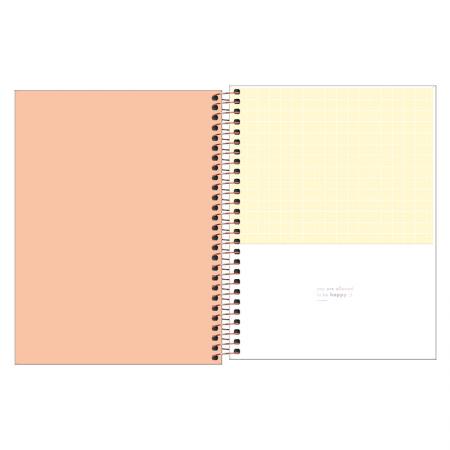 Caderno Colegial capa plástica - Happy Coral- 80fls