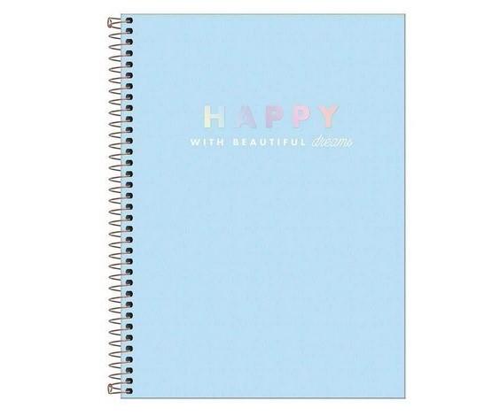 Caderno Colegial capa plástica Tilibra- Happy - 160fls