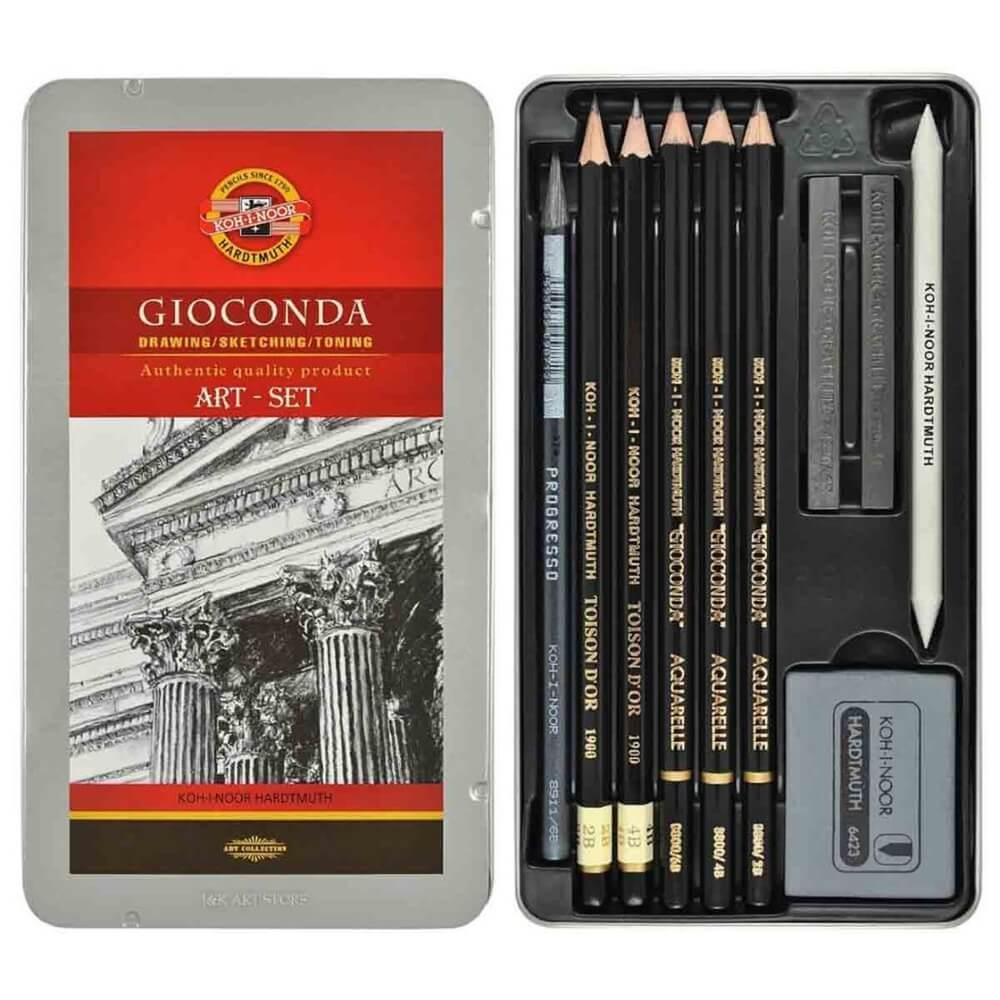Estojo artístico Gioconda Art Sketching Set 8893 Koh-I-Noor 10pçs