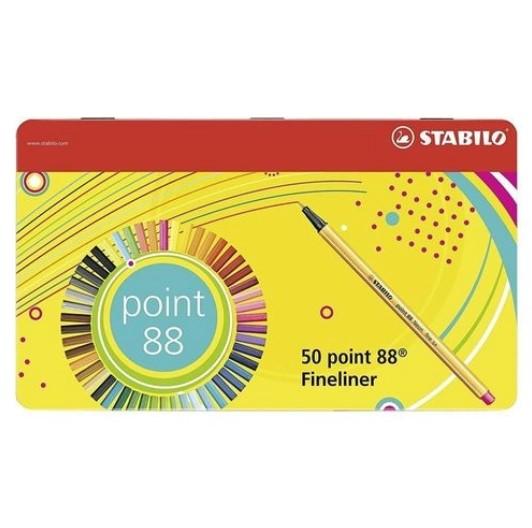 Estojo Caneta Stabilo Point 88 - Lata com 50 cores - 8850-6