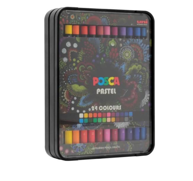 Giz de Cera pastel oleoso Posca Crayon Uni-Ball Estojo c/24 Cores KPA-100/24