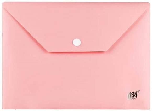 Pasta Envelope Horizontal com Botão Pastel A5 Rosa