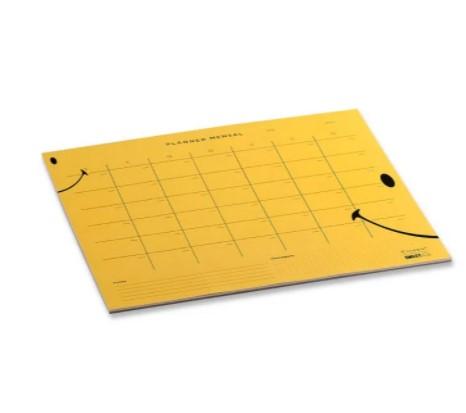 Planner Bloco Mensal Smiley - Amarelo - 29,7 cm x 28 cm- Cicero