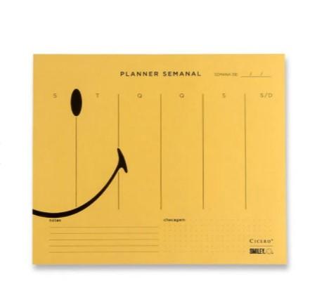 Planner Bloco semanal Smiley - Amarelo - 24,5 cm x 20,3 cm - Cicero