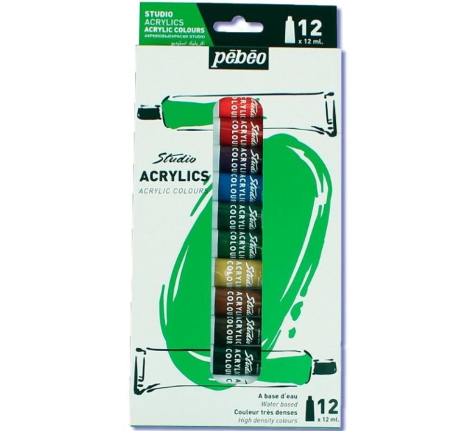 Tinta Acrilica Pebeo Studio Bisnaga 12 Cores 12ml