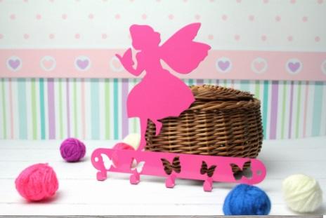 Cabideiro  infantil fadinha rosa aço