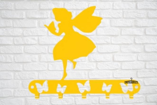 Cabideiro  infantil fadinha amarela  aço