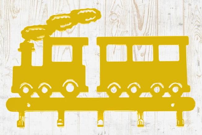 Cabideiro  infantil trenzinho amarelo aço