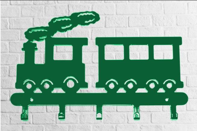 Cabideiro  Infantil trenzinho verde aço